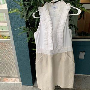 Ann Taylor Loft dress white cream ruffles 4